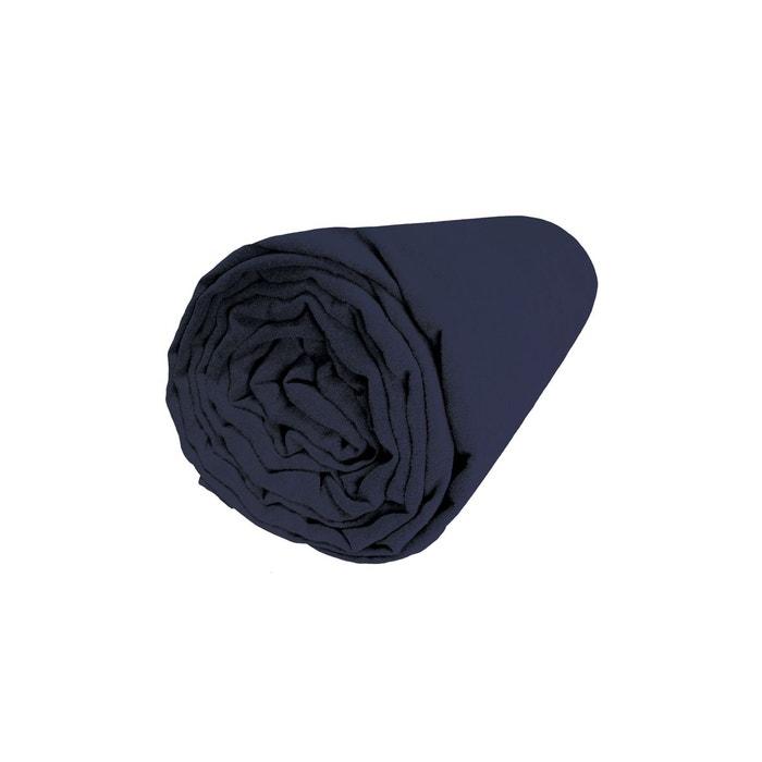 drap housse lin lav uni indigo indigo blanc cerise la redoute. Black Bedroom Furniture Sets. Home Design Ideas