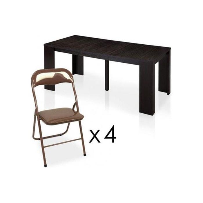 Table repas wenge 4 chaises pliantes marrons seattle - Table pliante 4 chaises ...