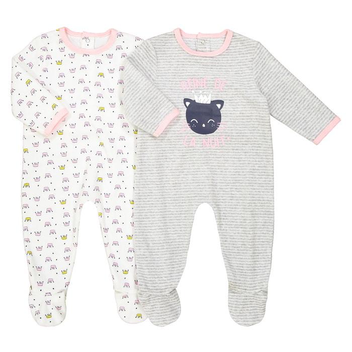 Set van 2 pyjama's in fluweel 0 mnd - 3 jr Oeko Tex  La Redoute Collections image 0