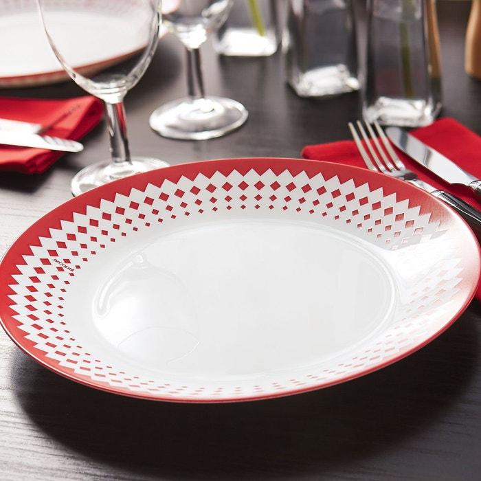 service de vaisselle rouge 18 pi ces arcopal adonie blanc luminarc la redoute. Black Bedroom Furniture Sets. Home Design Ideas