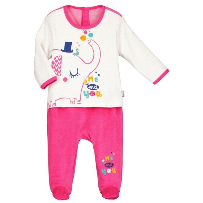 Pyjama bébé velours effet 2 pièces me and you rose Petit Beguin  06039570f32