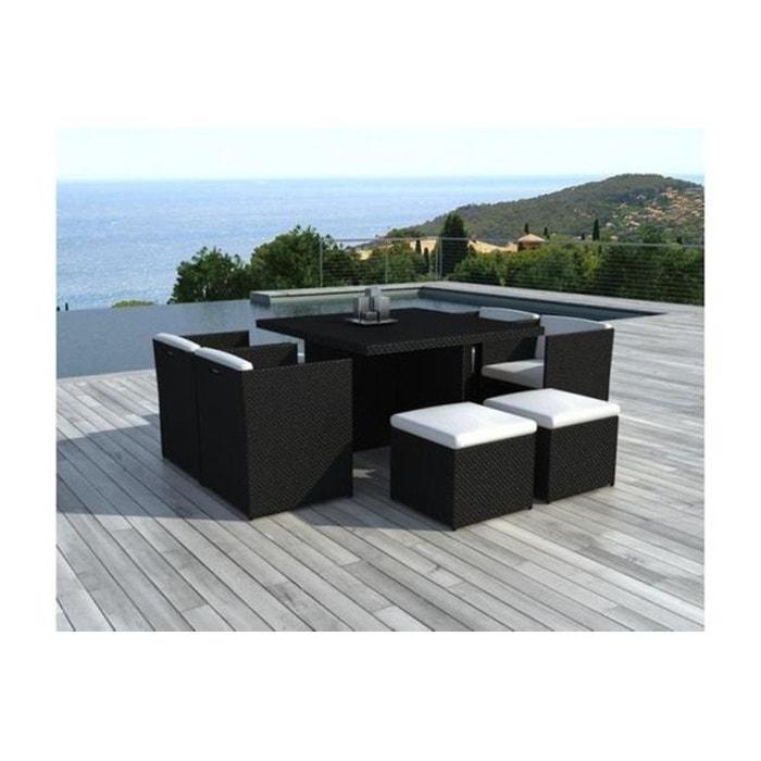 Salon de jardin en résine noir et blanc 8 places nice noir ...