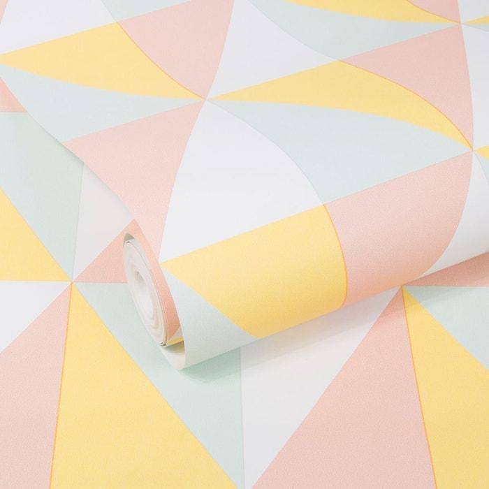 Geo Triangle Graphique Papier Peint Menthe Rose Jaune Papier Peint