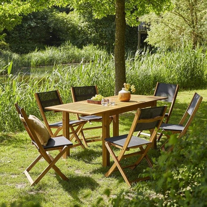 Salon de jardin en bois d\'acacia fsc extensible 6 à 8 places acacia ...