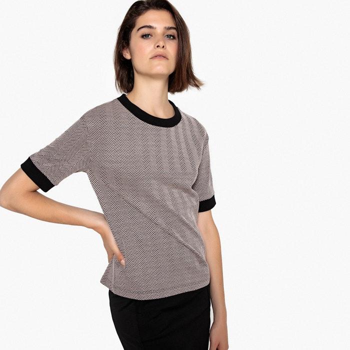 Camiseta con cuello redondo de punto jacquard, manga corta  La Redoute Collections image 0