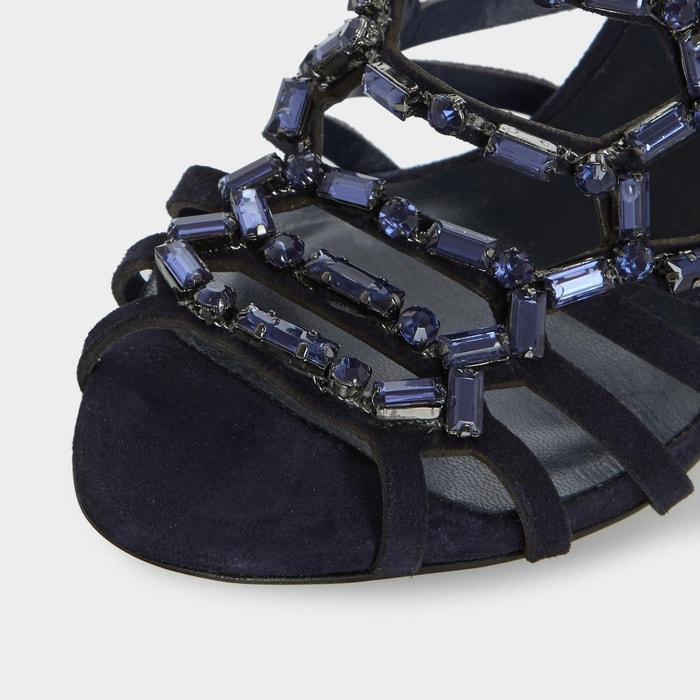 Black sand - sandales à talons hauts effet cage avec ornements - moonstone Dune London