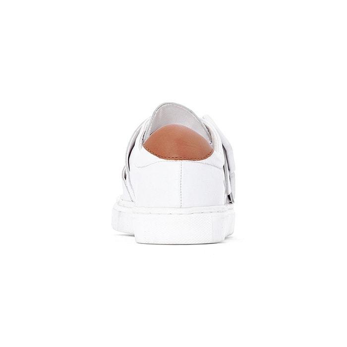 Baskets cuir détail boucles blanc La Redoute Collections
