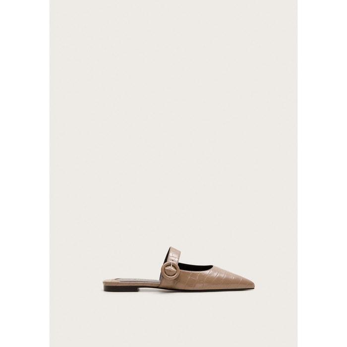 1b142f3aeb5be Chaussures pointues effet croco écru Violeta By Mango   La Redoute
