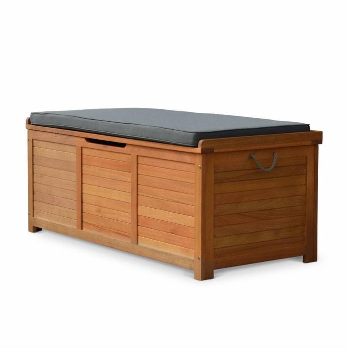 coffre de jardin caja en bois 125x60cm rangement coussins avec v rin et poign es chocolat alice. Black Bedroom Furniture Sets. Home Design Ideas