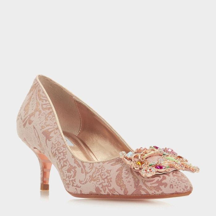 Escarpins à talons bobine avec motif floral et ornement en strass - beaumonte or_rose tissu Dune London