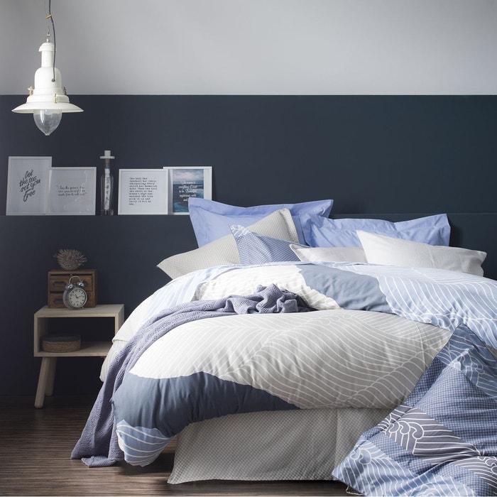 Housse de couette satin de coton zahara bleu bleu essix for La redoute housse de couette satin de coton