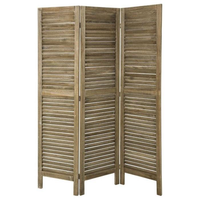 Paravent persienne 3 volets en bois naturel gris for Par a vent exterieur
