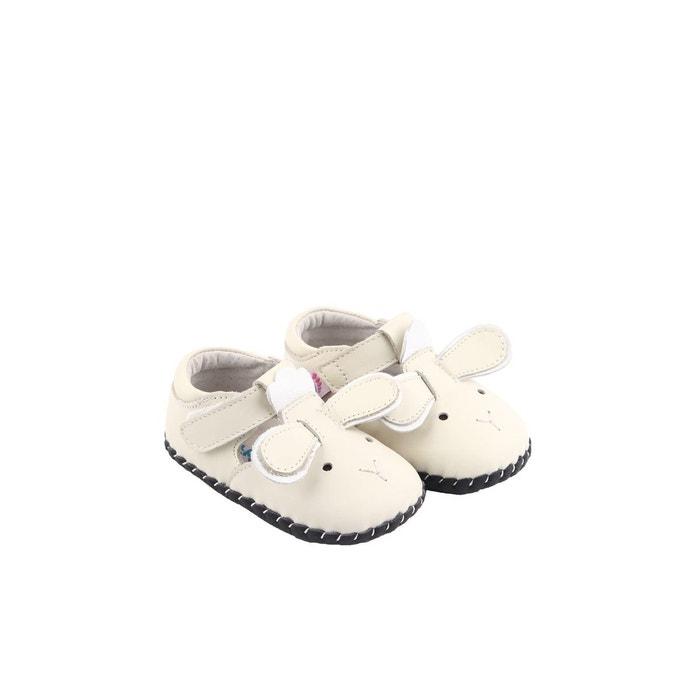 b6f813f7ea6a2 Chaussures premiers pas cuir souple sandales fermées little sheep beige  Freycoo