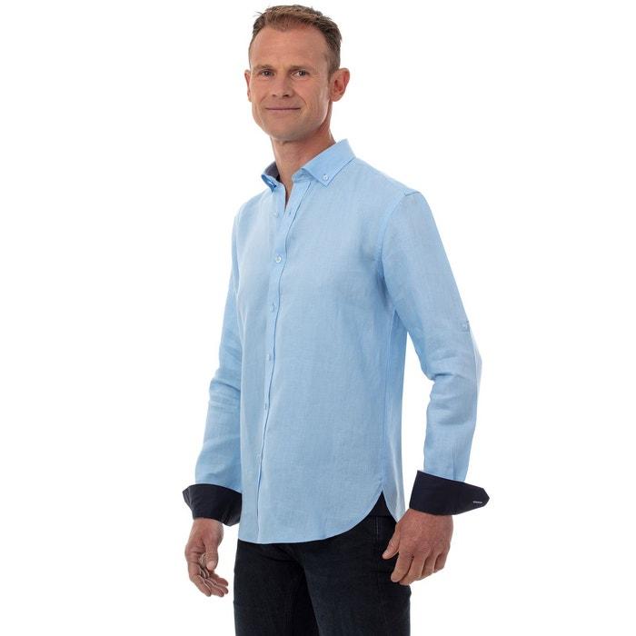 de manga larga Camisa para de hombre lino RA5L34j