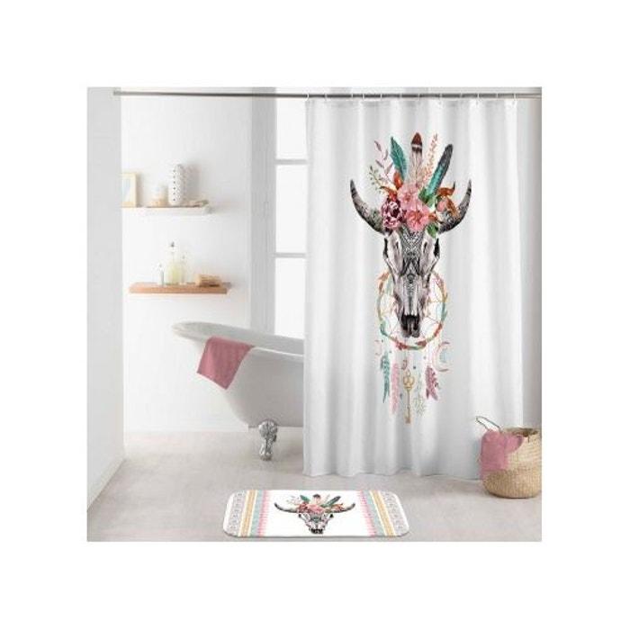 rideau de douche t te de buffle blanc home bain la redoute. Black Bedroom Furniture Sets. Home Design Ideas
