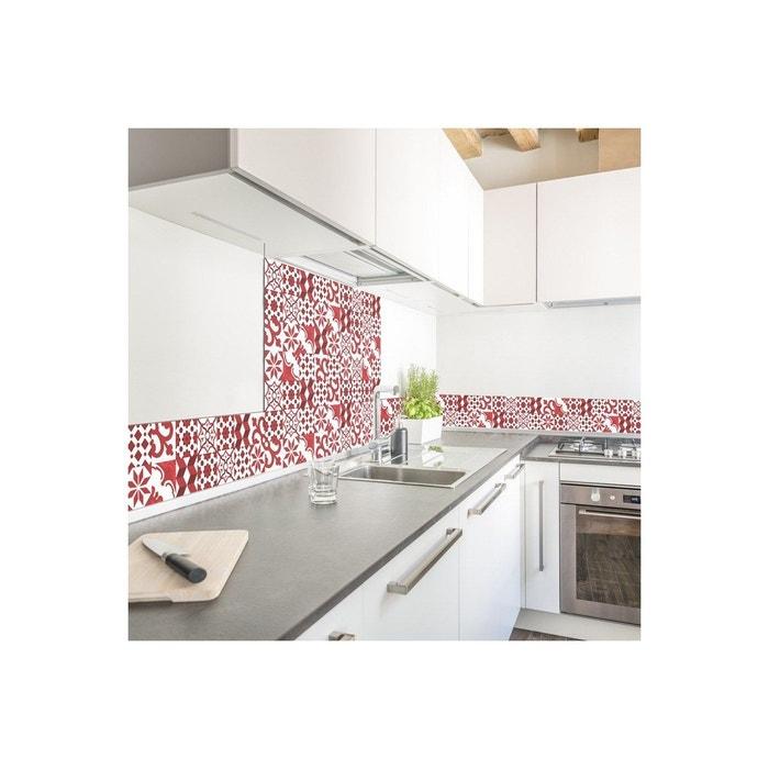 Credence Cuisine Carreaux De Ciment L60xh70cm Rouge 99deco La