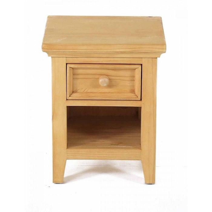 chevet en pin massif 1 tiroir 1 niche teint miel couleurs des alpes la redoute. Black Bedroom Furniture Sets. Home Design Ideas