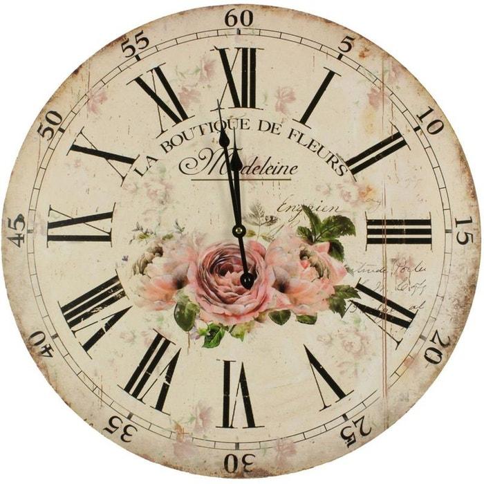 Horloge ancienne murale la boutique de fleurs 58cm couleur for Horloge ancienne murale