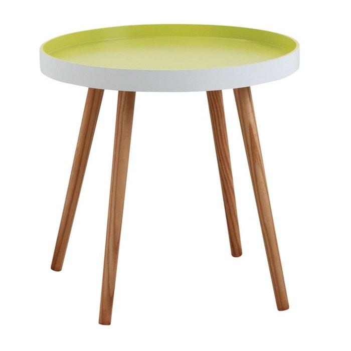 table d 39 appoint ronde en bois et mdf laqu vert anis blanc. Black Bedroom Furniture Sets. Home Design Ideas