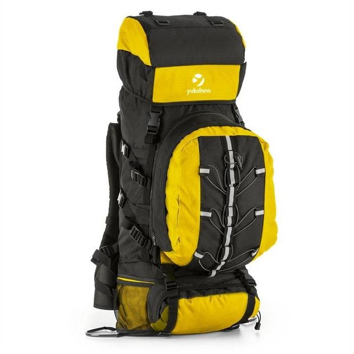 Almer Sac à dos randonnée trekking 80L 40x80x35cm jaune & noir OIHich