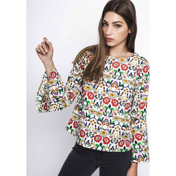 Blusa con cuello redondo y estampado de flores, de manga larga  COMPANIA FANTASTICA image 0