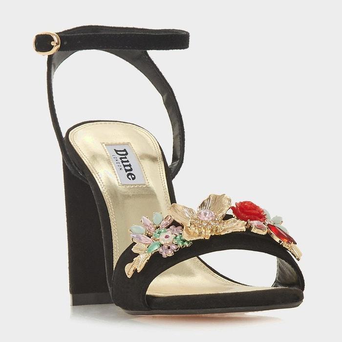 Sandales ornées de fleurs en deux parties à talons hauts - moretto noir daim Dune London