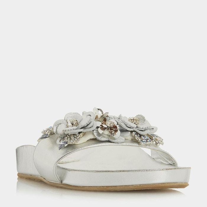 Sandales à enfiler ornées de fleurs - nalia  silver cuir Dune London  La Redoute