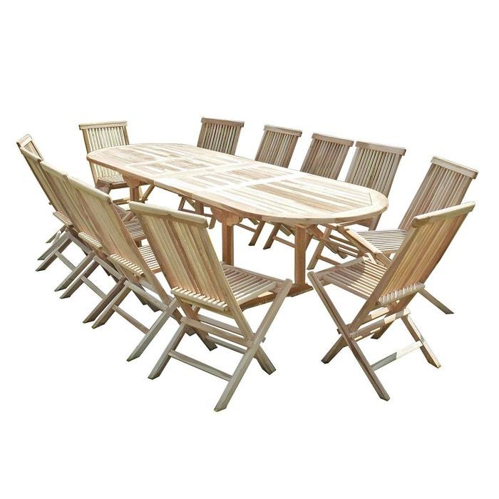 Ensemble salon de jardin en teck henua 12 chaises naturel C Et L ...