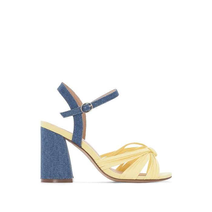 Sandalen Denim und gelb, breiter Absatz  La Redoute Collections image 0