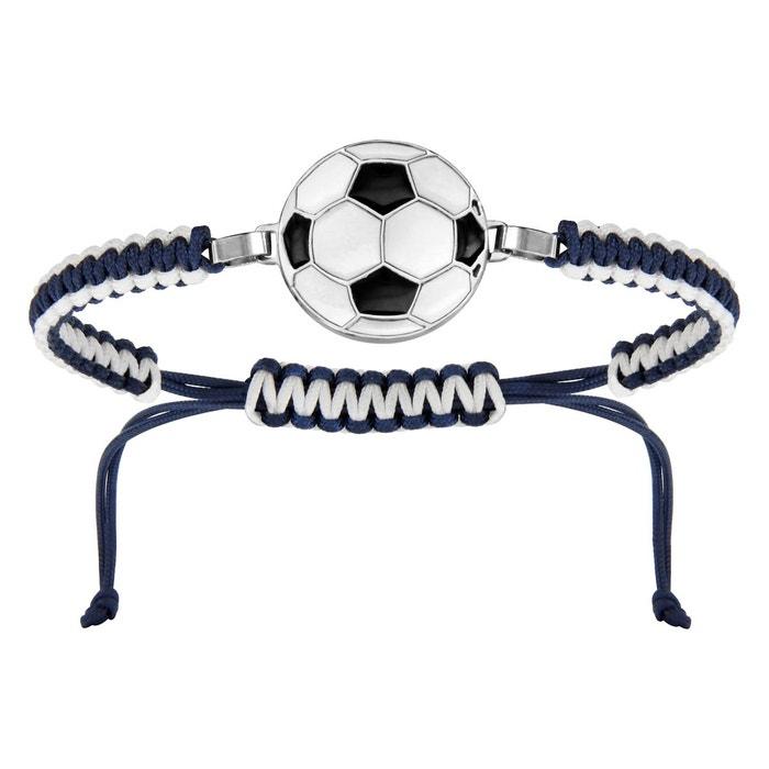Bracelet cordon coulissant longueur réglable bleu blanc ballon football acier inoxydable couleur unique So Chic Bijoux | La Redoute