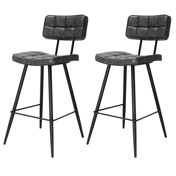 Chaise de bar mi hauteur capitonnée Texas noire 65 cm (lot de 2)