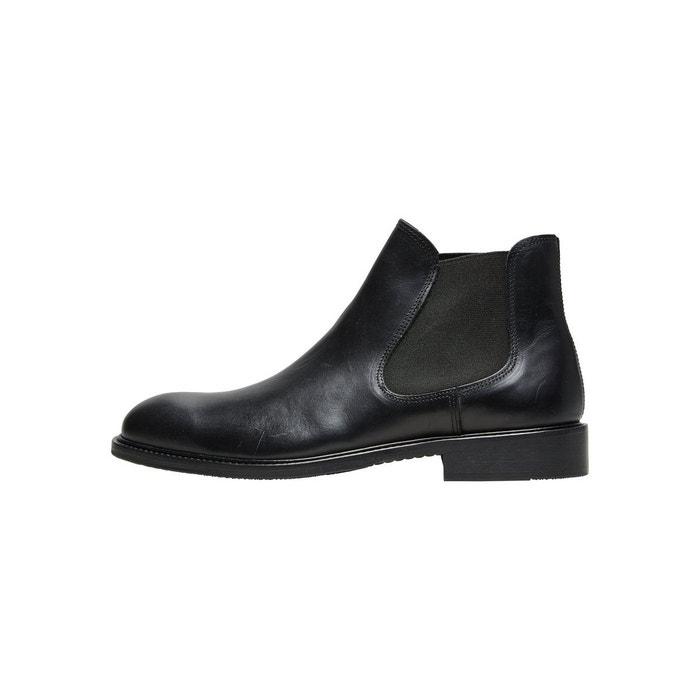 Bottes en cuir bottines chelsea -  black Selected Homme  La Redoute