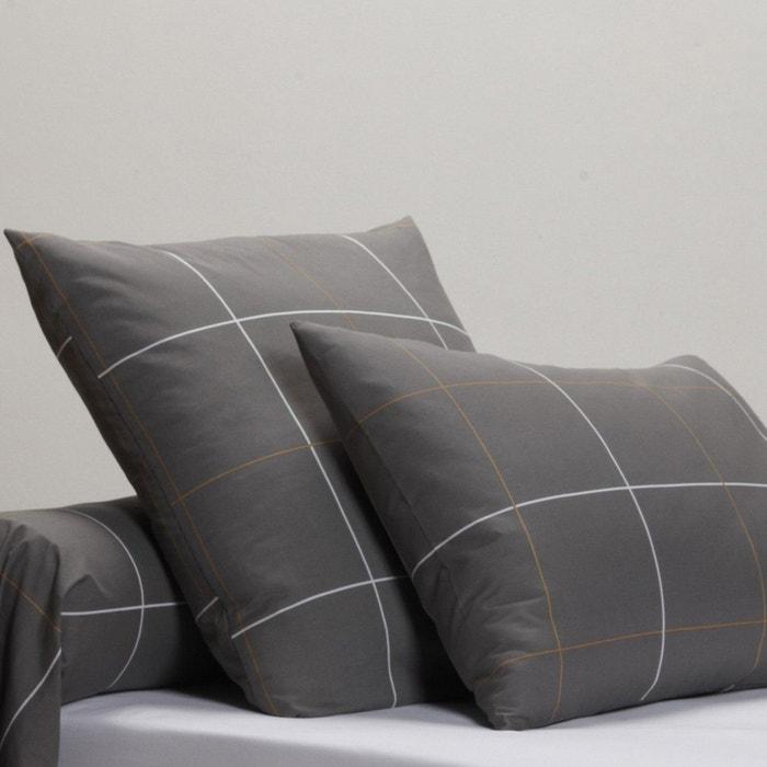 taies d 39 oreiller percale karo gris anthracite camel la redoute interieurs la redoute. Black Bedroom Furniture Sets. Home Design Ideas