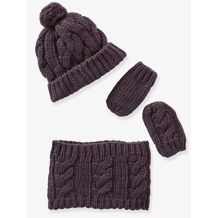 Ensemble bonnet, snood et moufles en tricot bébé Vertbaudet   La Redoute b7fd8d4c4f4