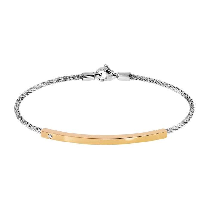 Bracelet male acier diamant blanc Male | La Redoute Vente Pas Cher 100% Authentique ktk7lA