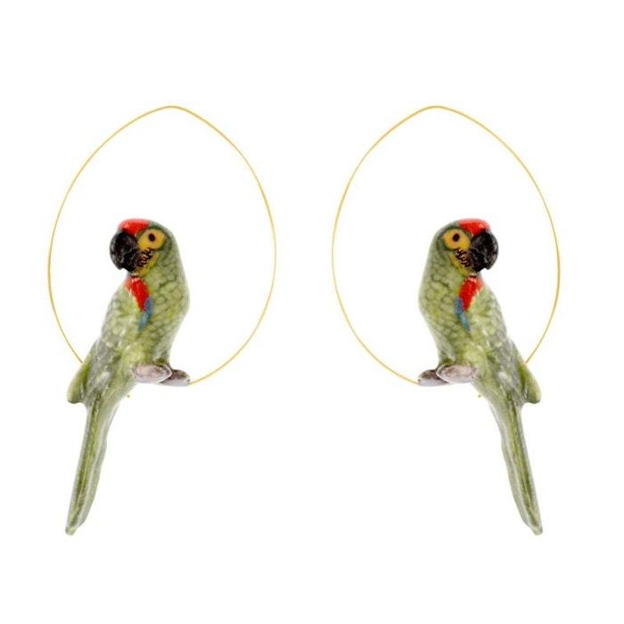 Créoles perroquet vert en porcelaine. vert, rouge, doré Nach Bijoux | La Redoute