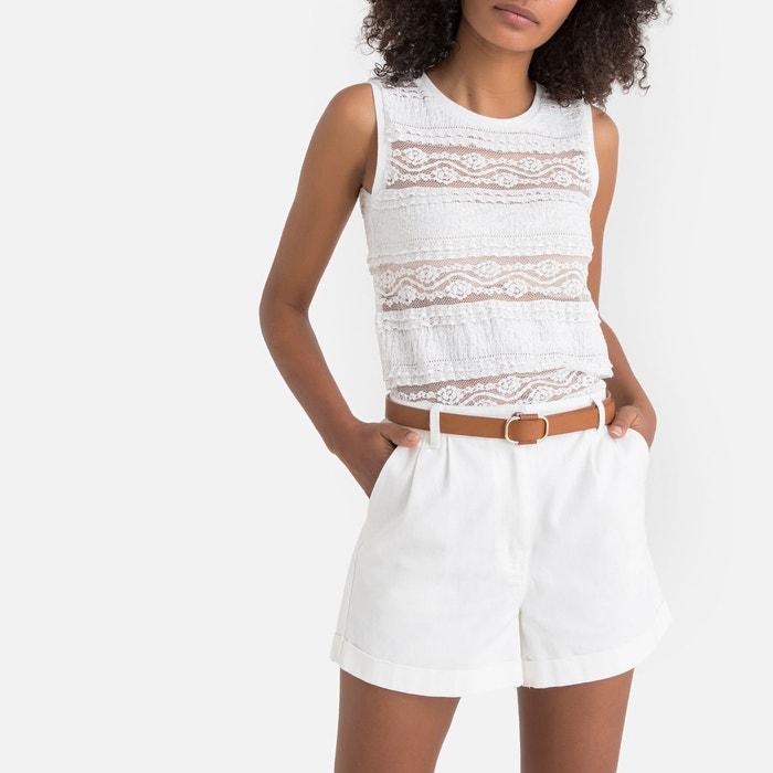 8804ced15d599 T-shirt sans manches en dentelle