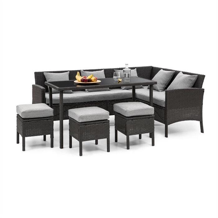 Titania lounge salon de jardin complet polyrotin noir & gris clair ...