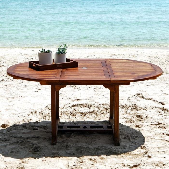 Table de jardin en bois de teck avec rallonge 6 à 8 places teck ...