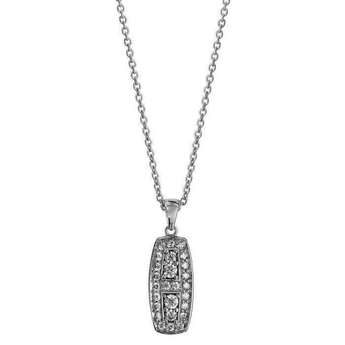 Collier longueur réglable: 42 à 45 cm pendentif rectangulaire oxyde de zirconium blanc argent 925 couleur unique So Chic Bijoux | La Redoute