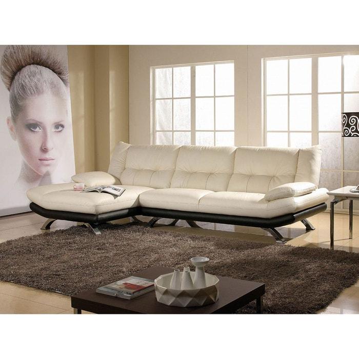 canap cuir angle miranda cuir prestige beige et noir beige et noir la maison du canape la. Black Bedroom Furniture Sets. Home Design Ideas