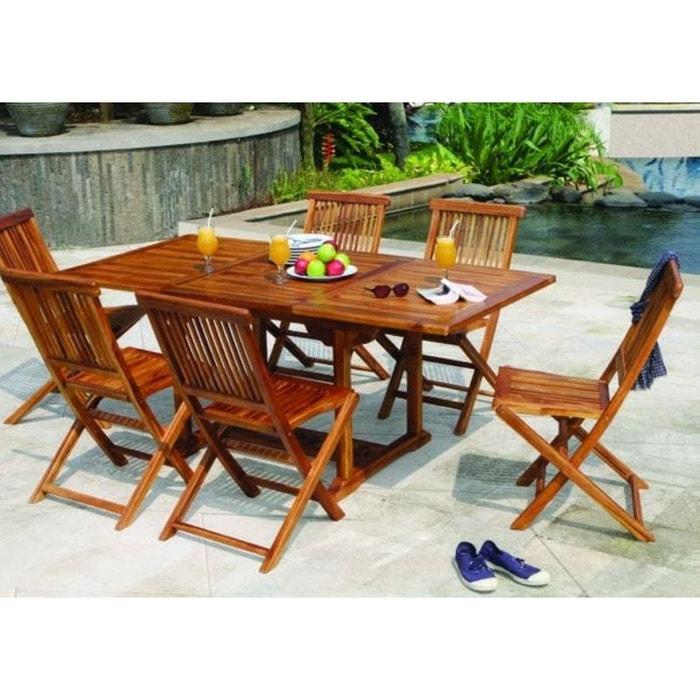 Table de jardin extensible rectangulaire en bois de teck massif huilé  120/180x90cm MACAO 6 personnes