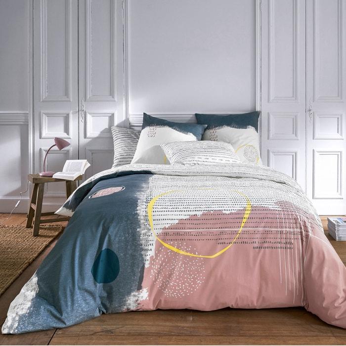 Paint Cotton Percale Duvet Cover Grey Print Blue La Redoute
