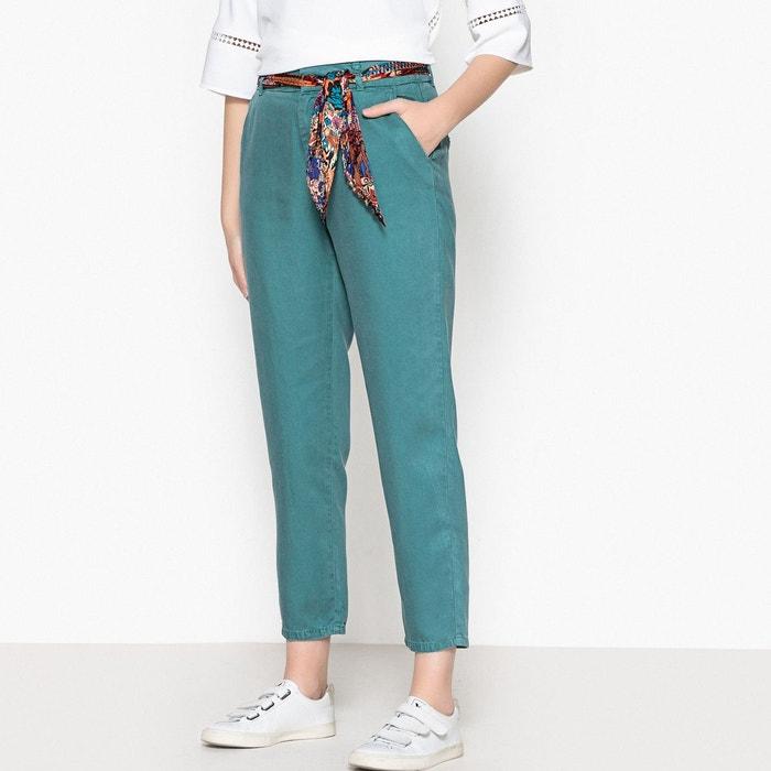 Pantalon droit en lyocell, ceinture foulard bleu canard Labdip