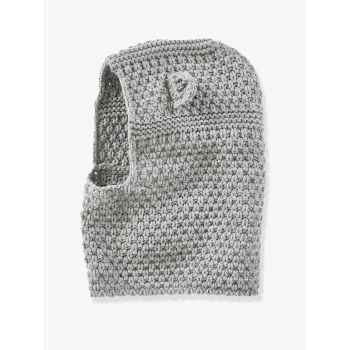 87cfa0e5928d Cagoule bébé en tricot point fantaisie gris clair chiné Vertbaudet   La  Redoute