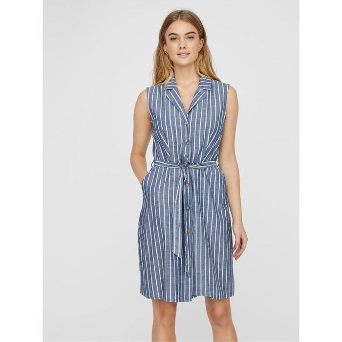Ärmelloses kleid mit hemdkragen, gestreift hellblau/weiss ...