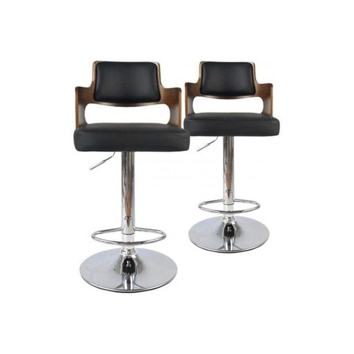 lot de 2 tabourets de bar noisette et noir kenza noir. Black Bedroom Furniture Sets. Home Design Ideas