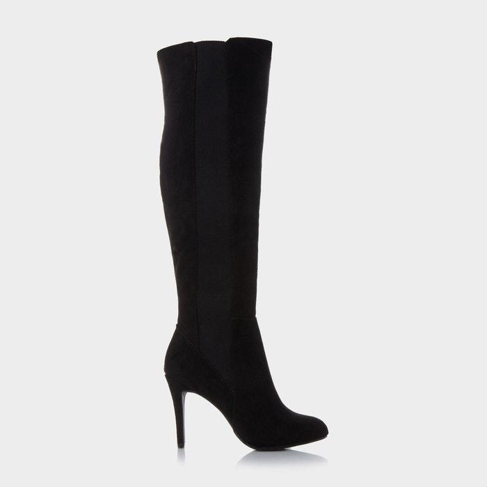 Elasticated over the knee boot - skylar noir micro fibre Head Over Heels By Dune
