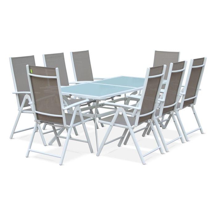 Salon de jardin en aluminium table 8 places blanc for La redoute salon jardin