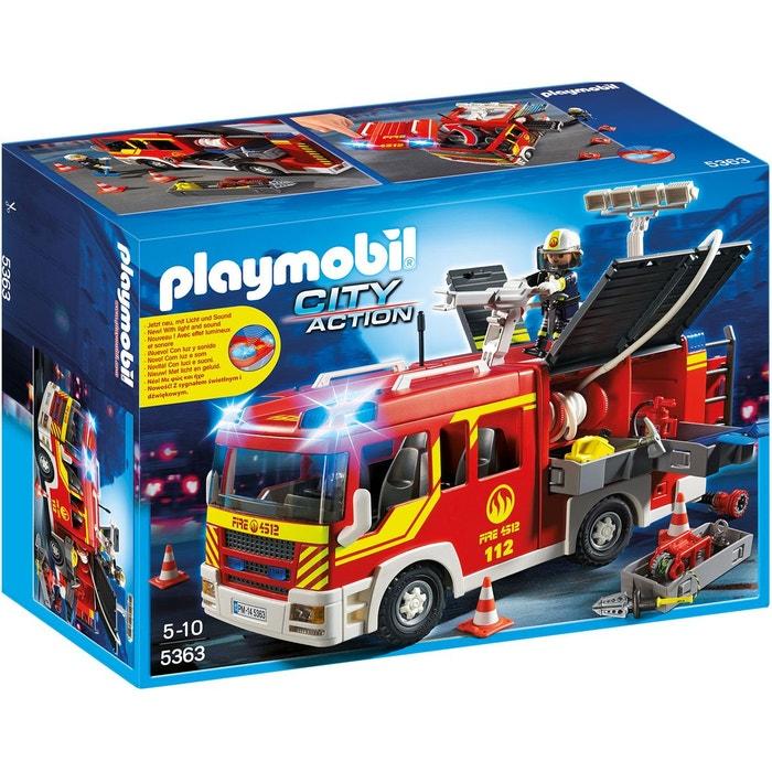 playmobil city action fourgon de pompier avec sir ne et gyrophare pla5363 multicolore. Black Bedroom Furniture Sets. Home Design Ideas
